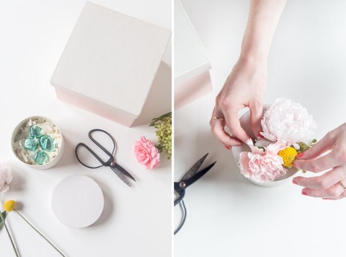 geschenk für frau, schachtel basteln, deckel mit blumen dekorieren, weiße box