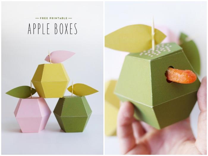 schachtel falten anleitung, boxen in form von äpfeln gefüllt mit geleebonbons