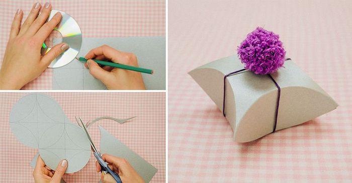 schachtel falten anleitung, schablone ausschneiden, runde form zeichnen, bommel aus lila garn