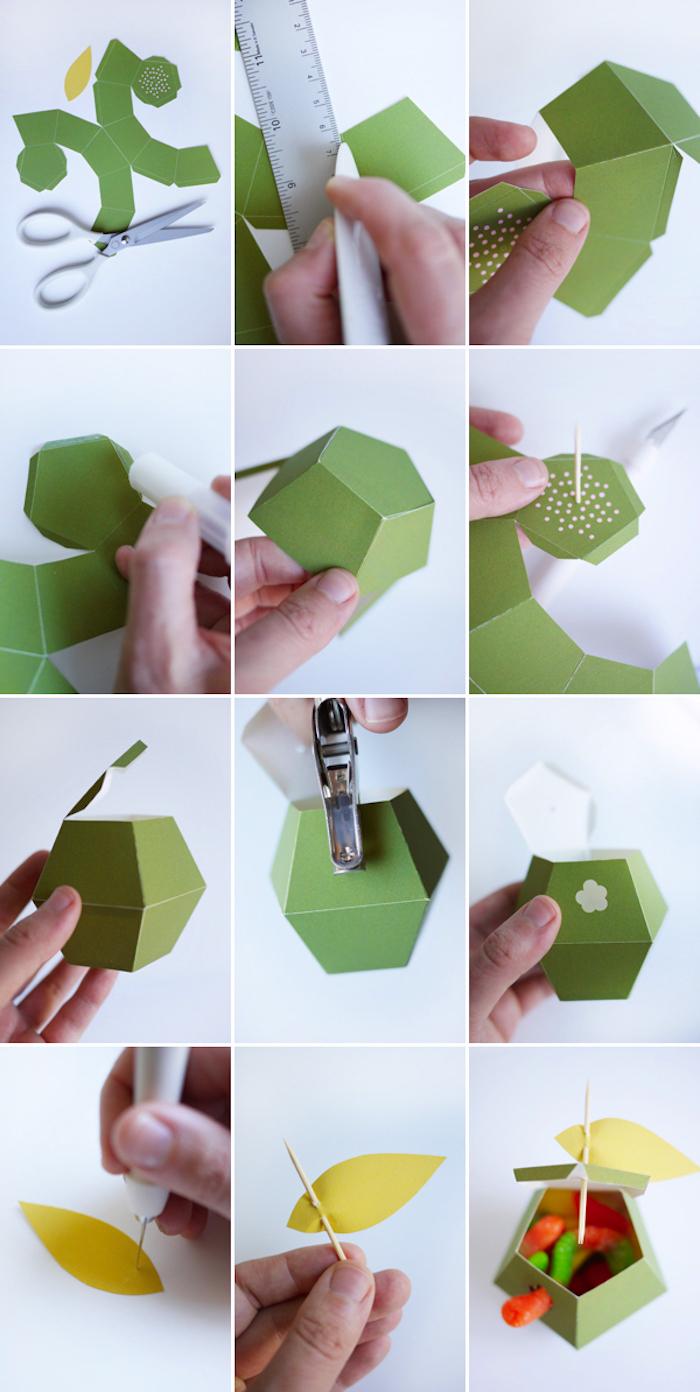 schachtel falten anleitung, grüner bastelkarton, geschenkbox in der form von apfel