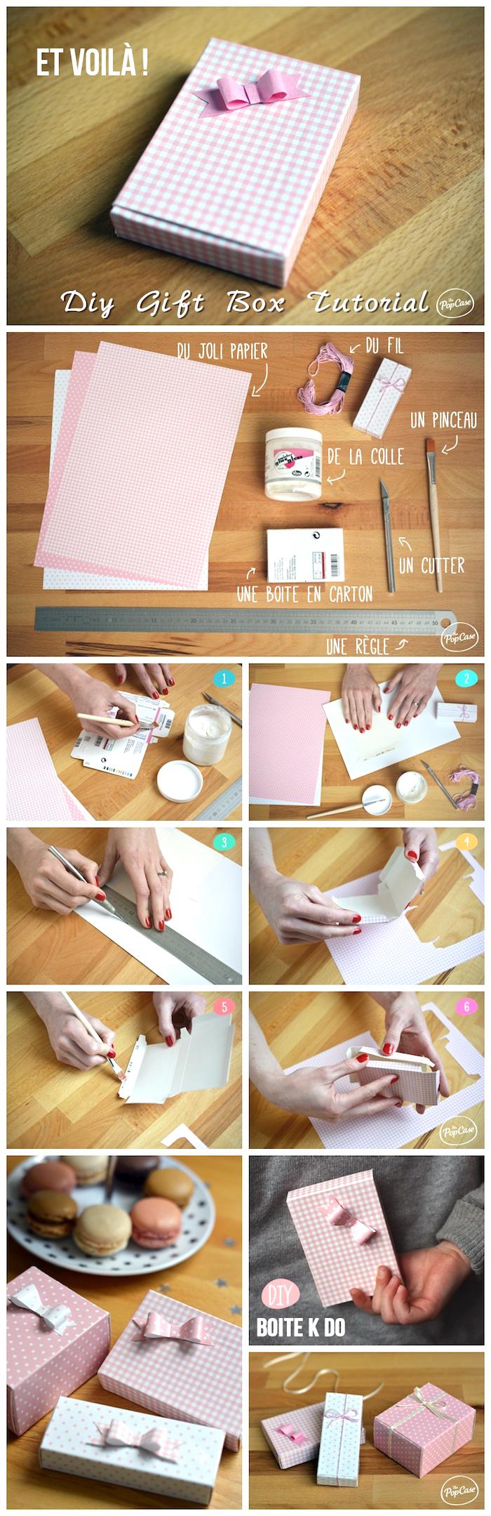 schachtel falten anleitung, kariertes papier in rosa und weiß, makaronen