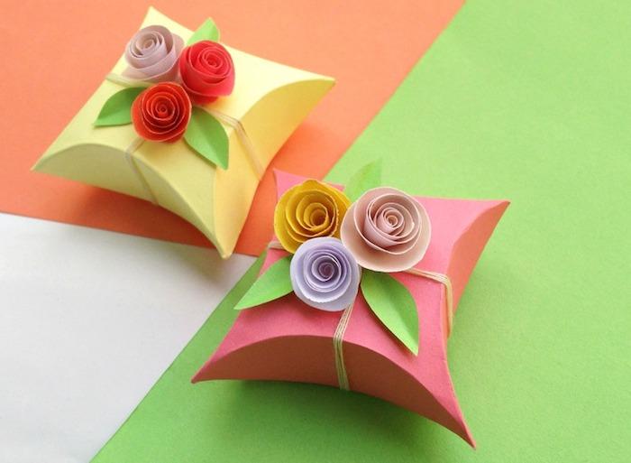 schachtel falten anleitung, papierrosen aus bastelpapier, geschenkverpackungen