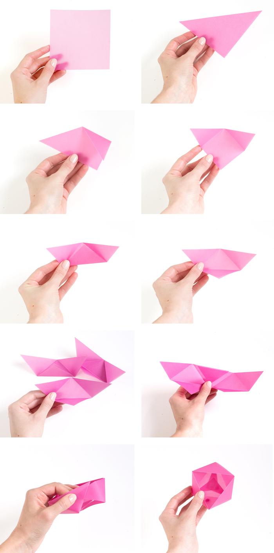 schachtel falten, origami anleitung, rosa papier, geometrische geschenkbox