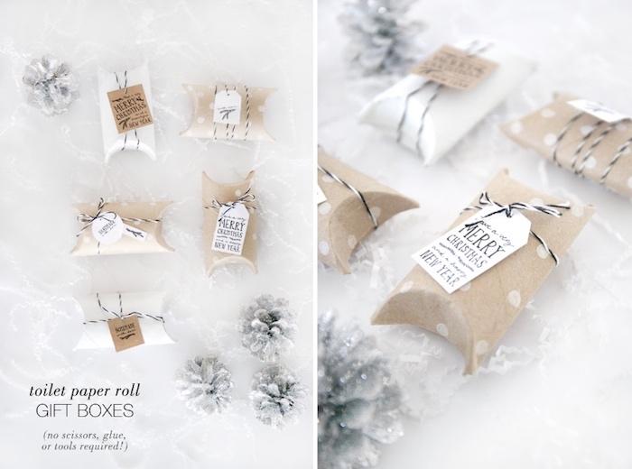 schachtel falten aus klorollen, weihnachtsgeschenk verpacken, upcycling ideen, tannenzapfen