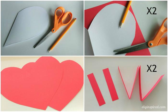 schachtel mit deckel selber machen, diy tutorial in bildern, herzform ausscheniden, rosa papier