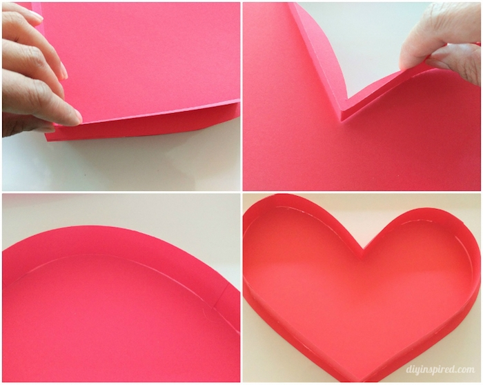 schachtel mit deckel selber basteln, geschenkbox aus rosa bastelpapier, tutorial