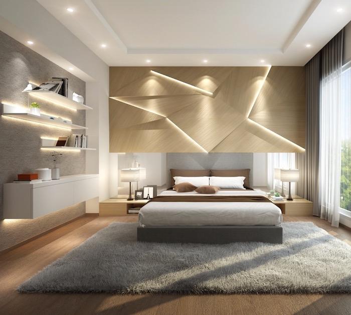 schlafzimmer gestalten, 3d wand mit beleuchtung, grauer flauschiger teppich, regale