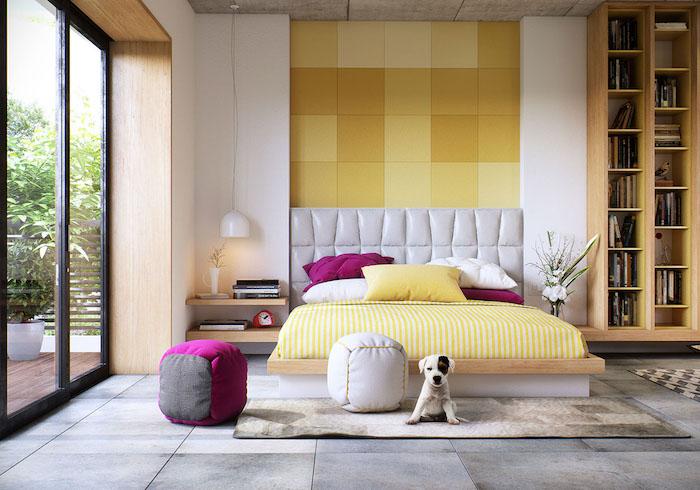 schlafzimmer gestalten, wand mit goemetrishcem muste,r graue fliesen in industriellem look, hund