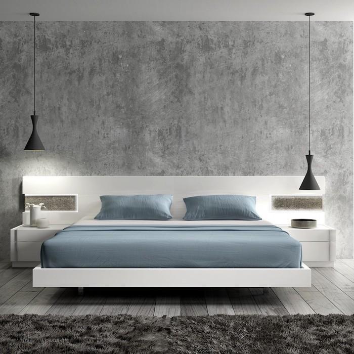schlafzimmer gestalten, wand in beton optik, schwarze hängelampen in industrial stil, weißes bett