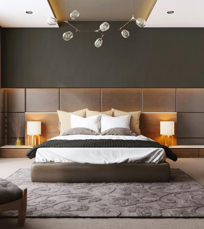 schlafzimmer ideen, blasen pendellecuhte, dunkelgraue wand, teppich mit 3d muster