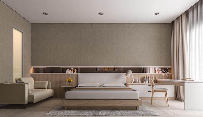 schlafzimmer ideen, einrichtung in beig eund grau, wand mit integriertem legal, möbel set