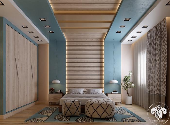 schlafzimmer ideen für kleine räume, 3d wand mit led beleuchtung, einrichtung in beig eund meerblau