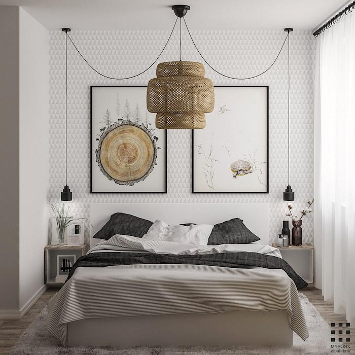 schlafzimmer ideen, wand mit geometrischem motiv, wandtapette in weiß und grau, große pendelleuchte