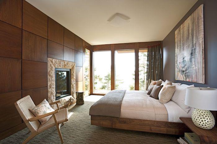 schlafzimmer ideen, elektrischer kamin, einrichtung im landhausstil, hölzerne wandpaneele