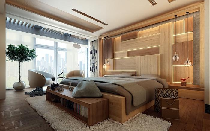 schlafzimmerwand gestalten, 3d holzwand mit led beleuchtung, kleines baum, schlagzimmer deko