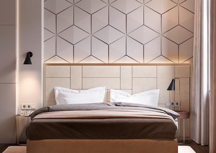 schlafzimmerwand gestalten, 3d wand mit led beluchtung, schwarze lampen, geometrische motive