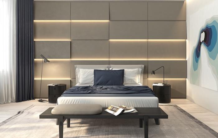 schlafzimmerwand gestalten, 3d wandpaneele mit led beleuchtung, abstraktes bild, dunkelgraue vorhänge