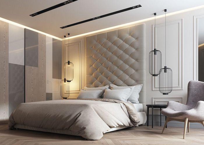 schlafzimmerwand gestalten, designer einrichtung, schwarze pendelleuchte aus draht, einrichtungsideen