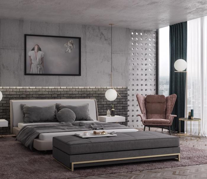 schlafzimmerwand gestalten, fliesen in beton optik, runde leuchten, ziegelwand mit beleuchtung, langer hocker