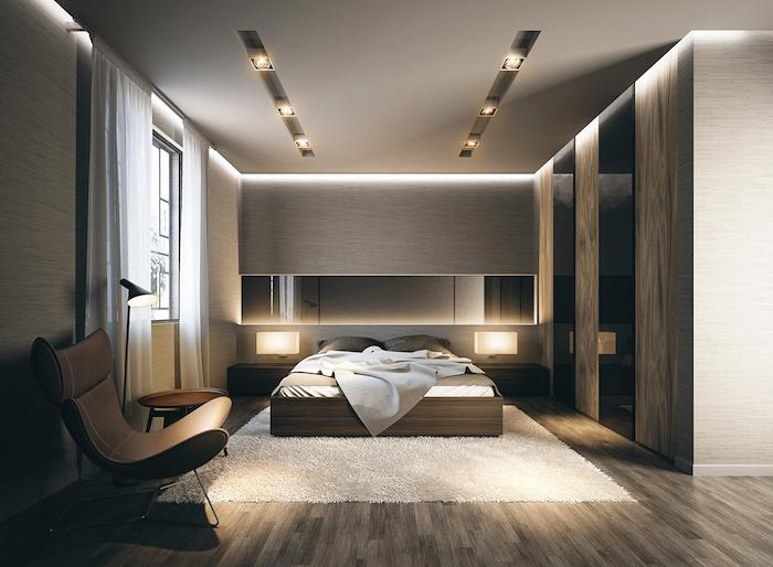 schlafzimmerwand gestalten, schlafzimmer bleuechuntg, boden aus dunklem holz, naturmaterialien