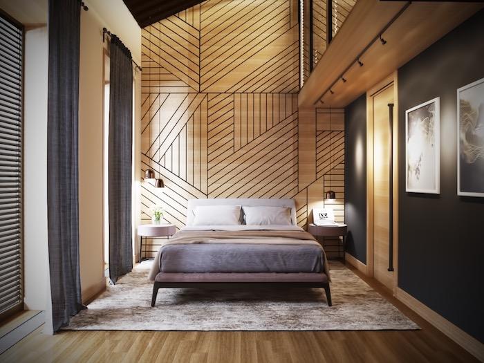 schlafzimmerwand gestalten, kleines zimmer einrichten, wand mit gometrischen motiven, grauer teppich