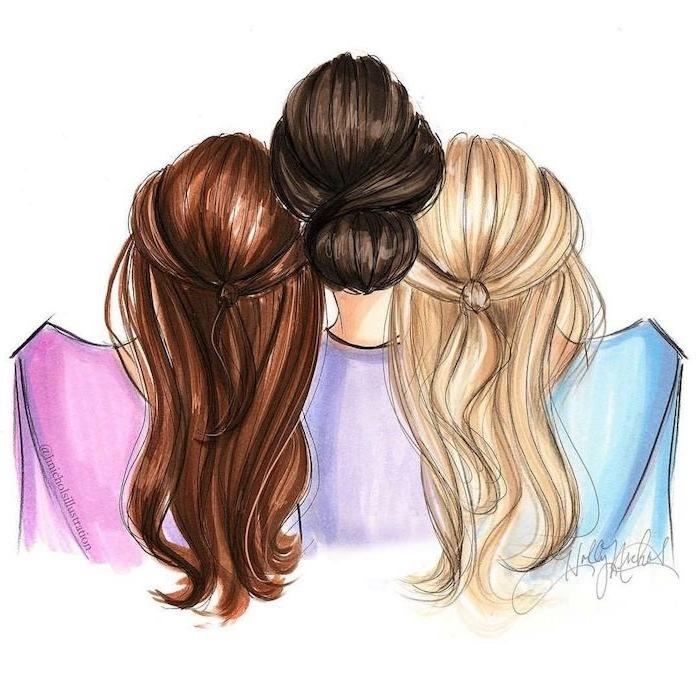 Schönes Bild zum Nachmalen, drei Frauen, braune schwarze und blonde Haare