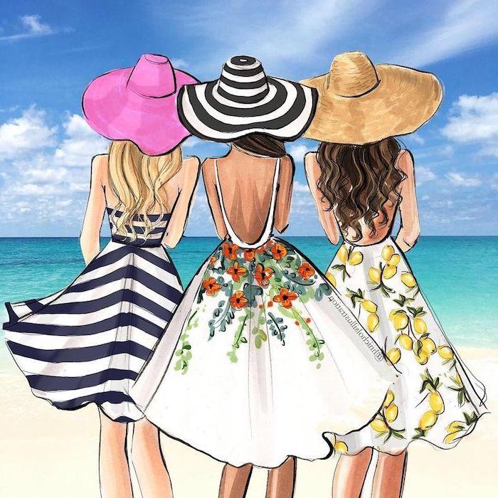 Drei Frauen am Strand, Kleider mit sommerlichen Motiven und Sommerhüte