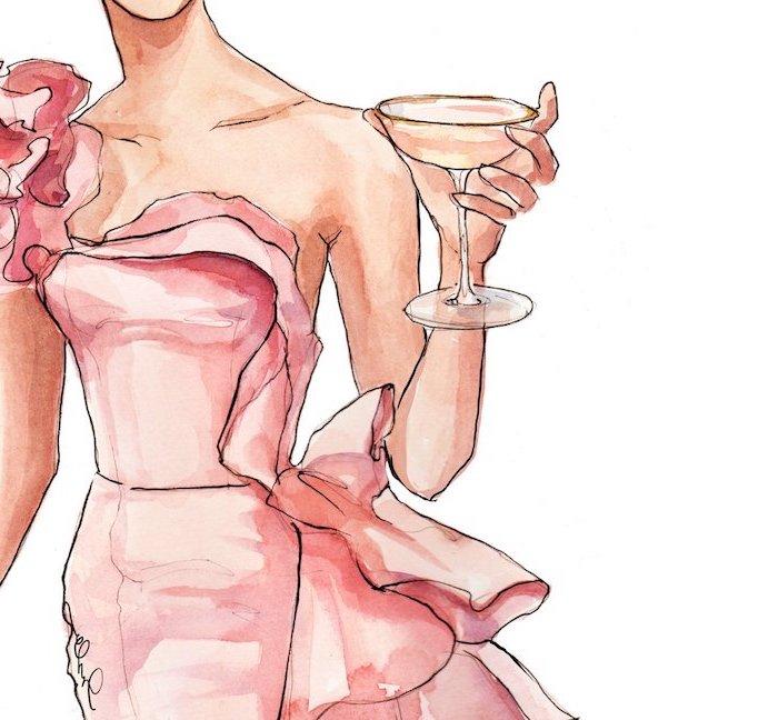 Bild zum Nachzeichnen, Frauenkörper und Glas Champagner, rosafarbenes trägerloses Kleid mit Schleppe