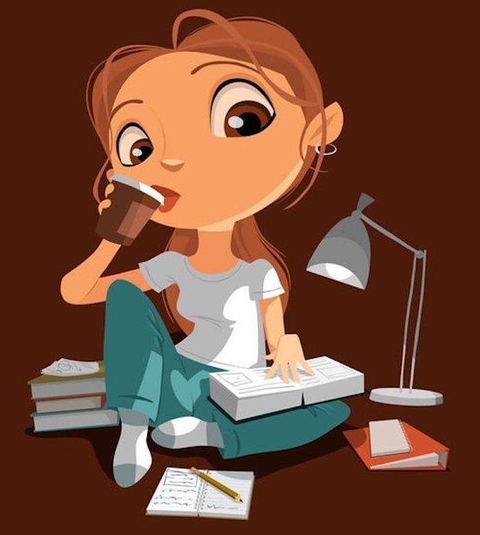Süßes Bild zum Nachzeichnen, Mädchen mit langen braunen Haaren trinkt Kaffee und liest