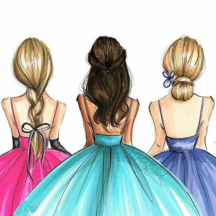 Schöne Bilder zum Nachmalen, drei Frauen mit langen Haaren, weite Ballkleider