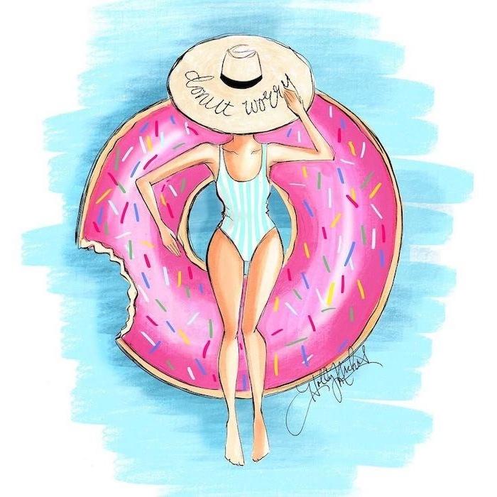 Sommerliches Bild zum Nachmalen, Frau mit Badeanzug und Sommerhut im Schwimmbad, Donut Schwimmreifen