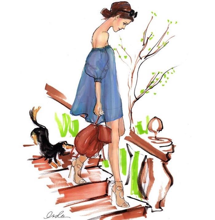 Schönes Bild zum Nachzeichnen, Frau mit niedrigem Dutt und Sonnenbrille hat blaues Kleid an, kleiner Hund