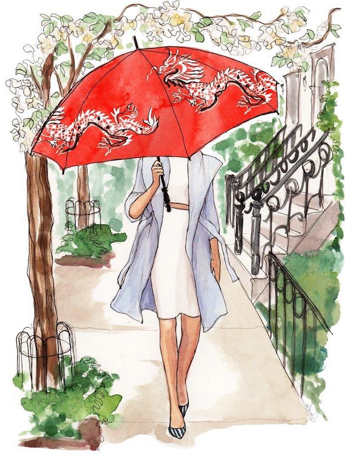 Schönes Bild zum Nachmalen, Frau im Park hält roten Regenschirm mit Drachen, weißes Kleid und hellblauer Mantel