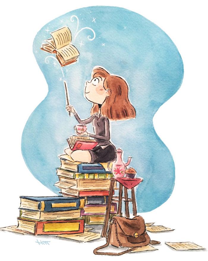 Schönes Bild zum Nachmalen, Mädchen hält Zauberstab, liest Buch und trinkt Tee
