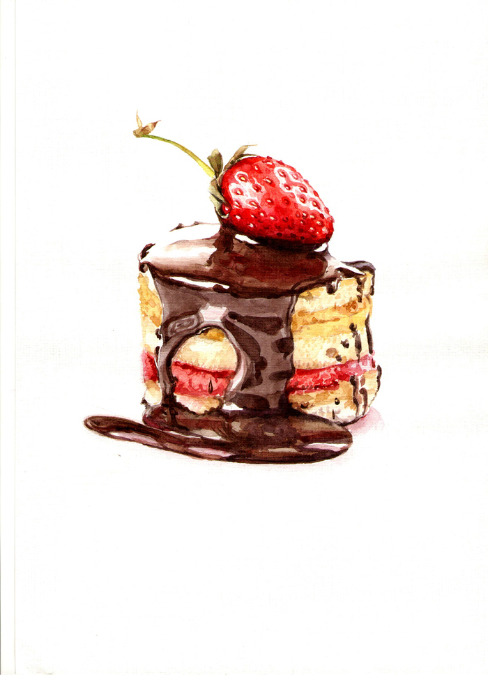 Cake selber malen, mit Schokoladenglasur und Erdbeere, schöne und leichte Zeichnungen