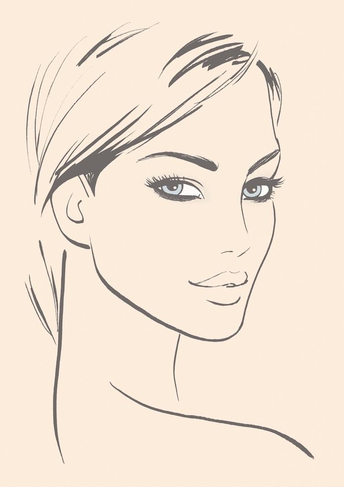 Schönes Frauengesicht, lange glatte Haare und blaue Augen, Bilder zum Nachmalen
