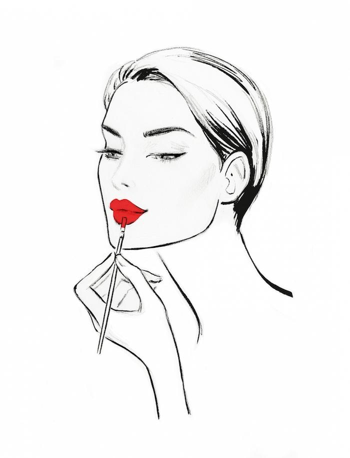 Schönes Frauengesicht, roten Lippenstift auftragen, Bild zum Nachzeichnen