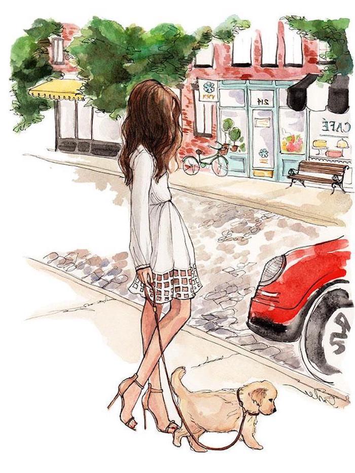 Schönes Bild zum Nachzeichnen, Frau und Hund, weißes Kleid mit langen Ärmeln, lange braune Haare