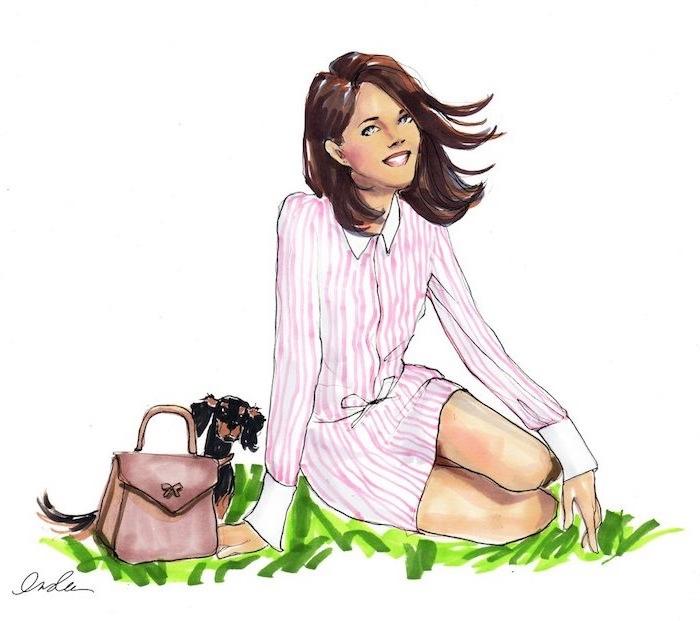 Bilder zum Nachzeichnen, Frau mit mittellangen braunen Haaren und kleiner Hund, gestreiftes Outfit in Weiß und Rosa