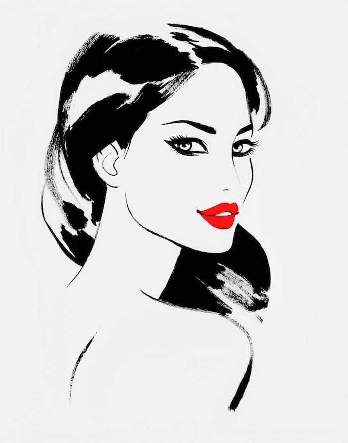 Schöne Zeichnungen zum Nachmalen, Frau mit langen schwarzen Haaren und knallroten Lippen
