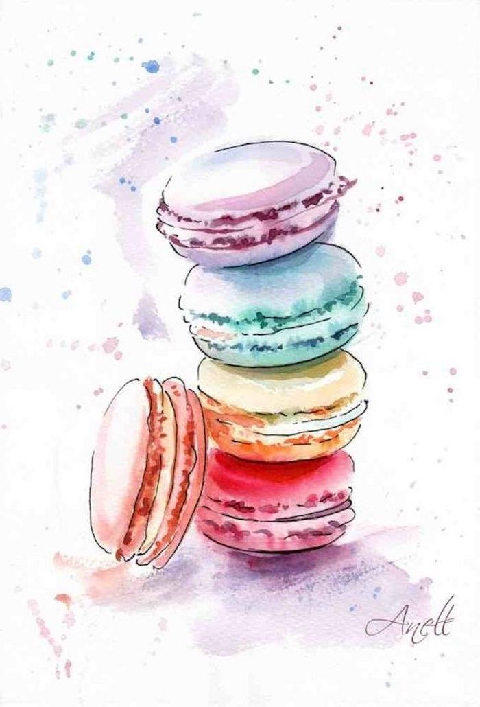Fünf französische Macarons, fünf verschiedene Farben, schöne Zeichnungen zum Nachmalen