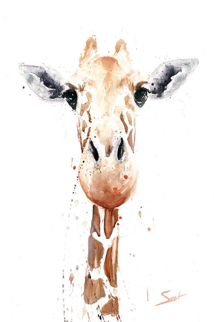 Giraffenkopf selber malen, Tiere zeichnen, schöne Bilder zum Nachmalen