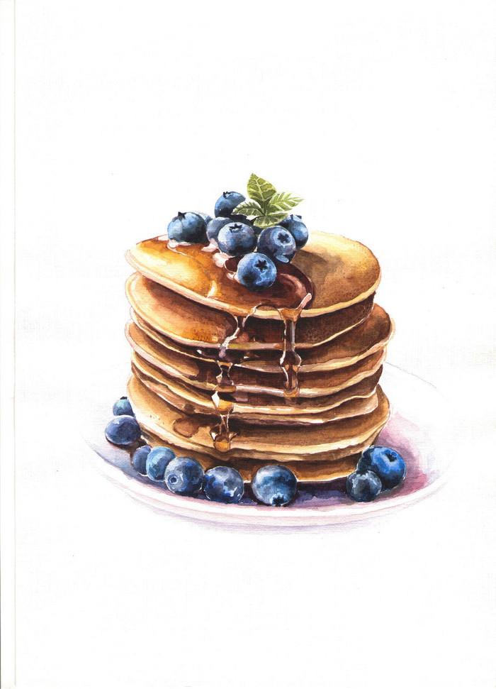 Pfannkuchen mit Honig Blaubeeren und Minze, in weißem Teller, schöne Zeichnung