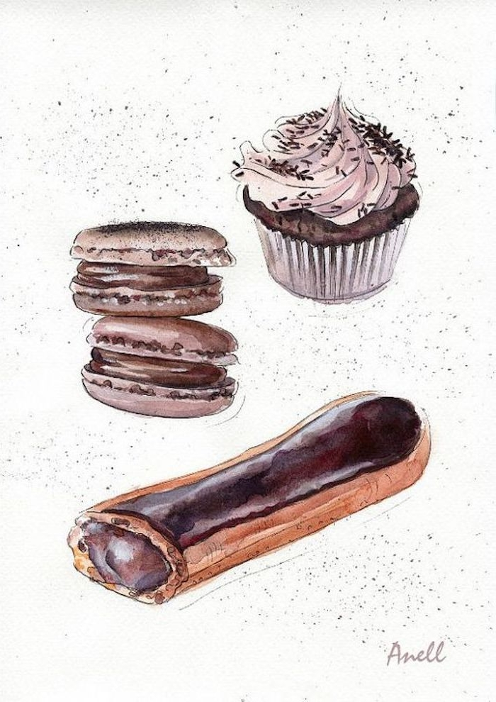 Schönes Bild zum Nachmalen, Windbeutel mit Schokolade, französische Macarons und Cupcake mit Sahne