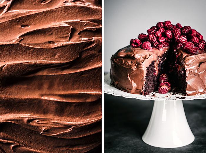 Leckere vegane Torte mit Schokoladenglasur und Himbeeren, Rezept für Geburtstagstorte