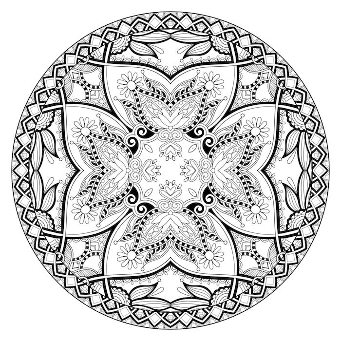 ein kreis mit mandala blumen, bastelideen für erwachsene, mandala zum ausdrucken für erwachene, viele kleine weiße und schwarze blumen