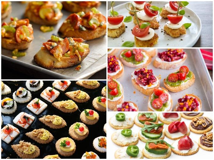 silvester buffet vorschläge, bruschettas mit frischkäse und obst, häppchen ideen