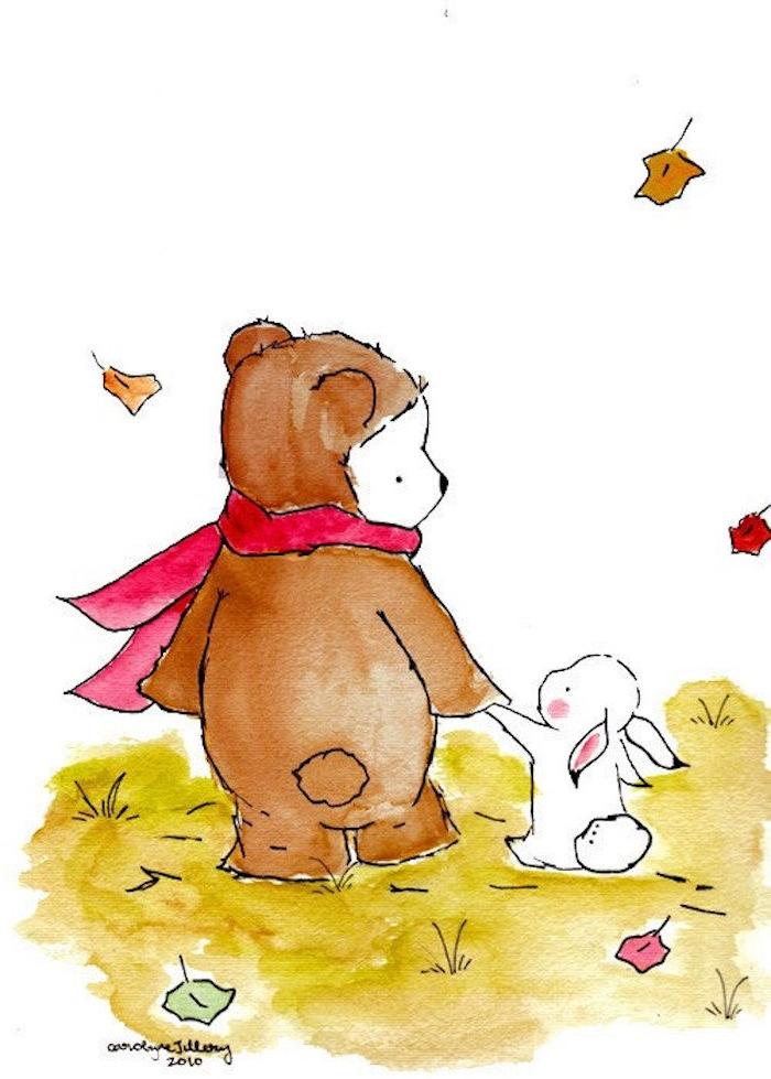 Bär mit rotem Schal und Hase Hand in Hand, Herbst im Wald, bunte Herbstblätter