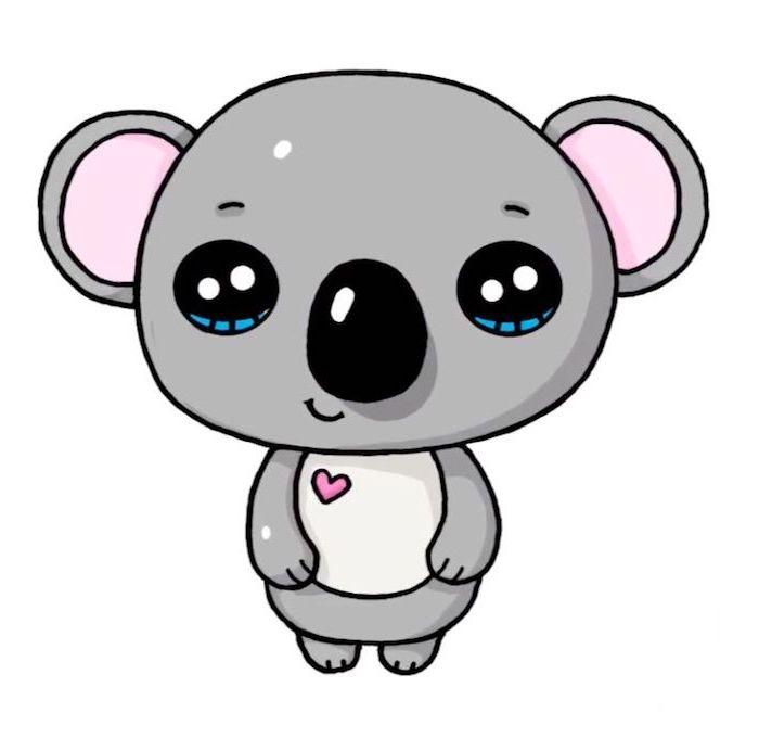 Kawaii Koala selber malen, mit großen Augen, kleines Herz an der Brust, süße Bilder zum Nachzeichnen
