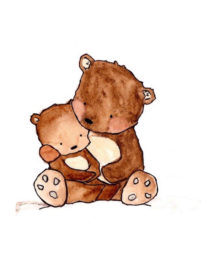 Mutter und Baby Bären, Tiere selber malen, schönes Bild zum Nachzeichnen